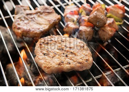 Assorted Delicious Grilled Meat Over The Coals On A Barbecue