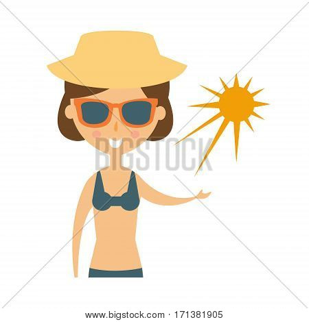 Woman Posing With Sun On Her Palm In Shades And Straw Hat, Part Of Summer Beach Vacation Series Of Illustrations. Seaside Holidays Related Infographic Icon In Primitive Vector Carton Style.