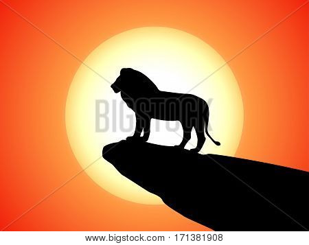 Vector illustration of black silhouette of a lion on a rock cliff. Side view, profile. Silhouette animal predator against the sun, sunset background.