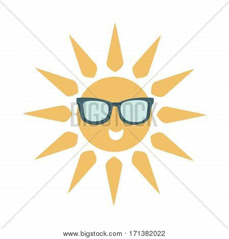Simple Sun Icon With Face Wearing Dark Shade Glasses, Part Of Summer Beach Vacation Series Of Illustrations. Seaside Holidays Related Infographic Icon In Primitive Vector Carton Style.