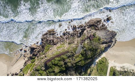 Aerial view of Miami Headland lookout and beach from above. Gold Coast, Australia