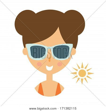 Woman Smiling In Dark Glasses Enjoying The Sun, Part Of Summer Beach Vacation Series Of Illustrations. Seaside Holidays Related Infographic Icon In Primitive Vector Carton Style.