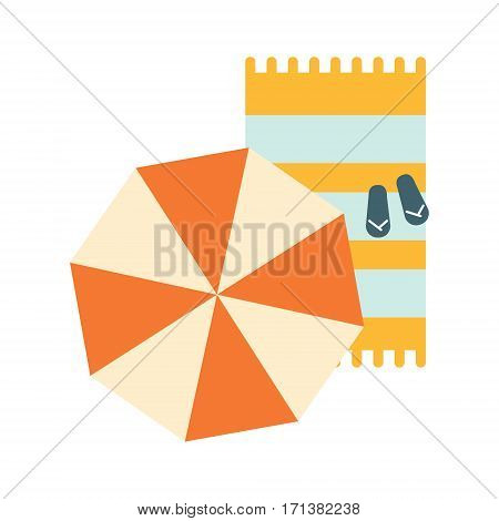Set Of Blanket , Umbrella And Flip-Flops On The Sand, Part Of Summer Beach Vacation Series Of Illustrations. Seaside Holidays Related Infographic Icon In Primitive Vector Carton Style.