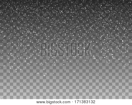 Vector illustration of falling white magic dust. Isolated transparent background. Shining white powder incident. Glitter silver. Elements for design. Brilliant small white particles.
