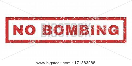 No Bombing text rubber seal stamp watermark. Tag inside rectangular banner with grunge design and dust texture. Horizontal vector red ink sticker on a white background.