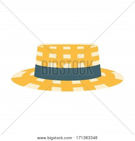 Checkered Male Straw Hat With Ribbon, Part Of Summer Beach Vacation Series Of Illustrations. Seaside Holidays Related Infographic Icon In Primitive Vector Carton Style.