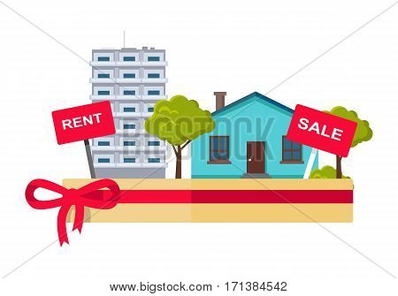Real estate concept vector. Flat design. Salver with houses, trees, rent and sale signs on it. Illustration for real estate company advertising, housing concepts. Isolated on white background.