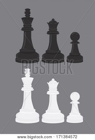Vector illustrations of iconic black and white chess pieces chess pawn chess queen and chess king isolated on grey background.