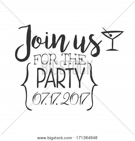 Cocktail Party Black And White Invitation Card Design Template With Calligraphic Text. Monochrome Print Inviting To The Celebration Event In Classy Typography Style Vector Illustration