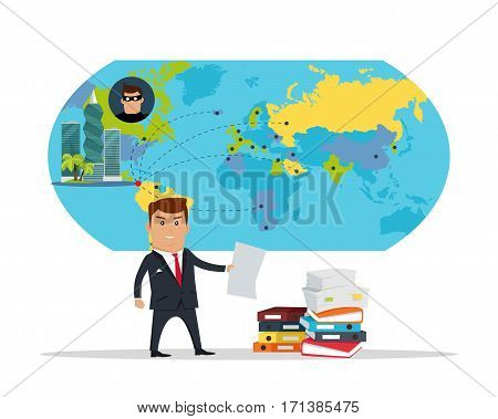 Man in business suite with sheet of paper on panama-city, world map background. Public corruption disclosure. International financial investigation concept. Offshore documents scandal illustration.