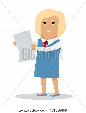 Female character with sheet of paper vector. Flat style design. Blonde smiling woman in blue strict dress standing and holding sheet of clear white paper. Ad, job offer, paper work concept. Secretary.