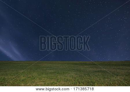 Night Meadow Background. Night Starry Sky. Night Sky With Stars