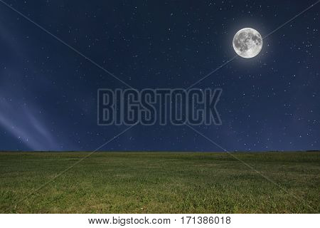 Night Sky Meadow Background With Moon And Stars. Full Moon.