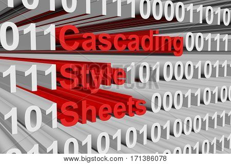 cascading style sheets presented in the form of binary code 3d illustration