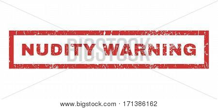 Nudity Warning text rubber seal stamp watermark. Caption inside rectangular shape with grunge design and dust texture. Horizontal vector red ink sticker on a white background.