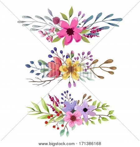 Watercolor floral bouquet with leaves and flowers. Wedding, romantic collection.Spring or summer design for invitation, wedding or greeting cards. Vector illustration