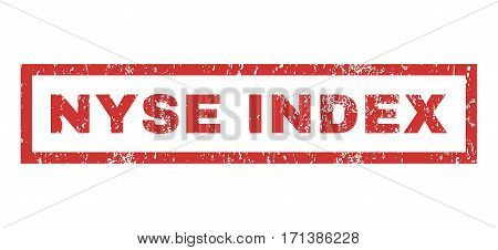 Nyse Index text rubber seal stamp watermark. Caption inside rectangular banner with grunge design and scratched texture. Horizontal vector red ink emblem on a white background.