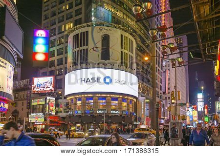 New York, USA, november 2016: Times Square, famous tourist attraction featured with Broadway Theaters and famous restaurant and store locations in New York City