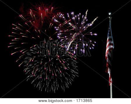 Flag With Large Multiple Fireworks