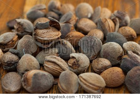 Raw Almonds On The Wooden Background