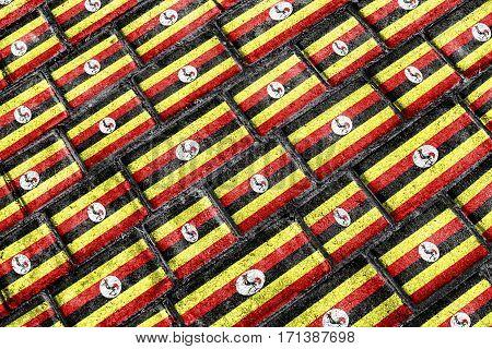 Uganda Flag Urban Grunge Pattern