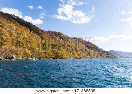 Lake towada at autumn season