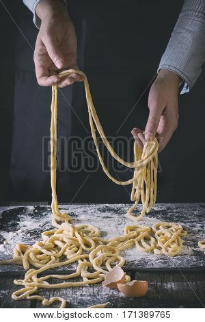 Making Pasta By Female Hands