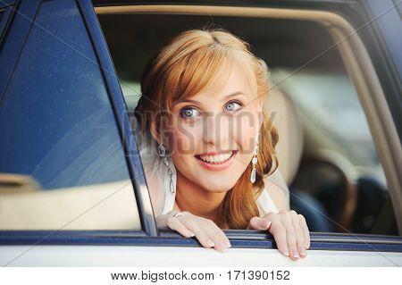 Happy Woman In Car