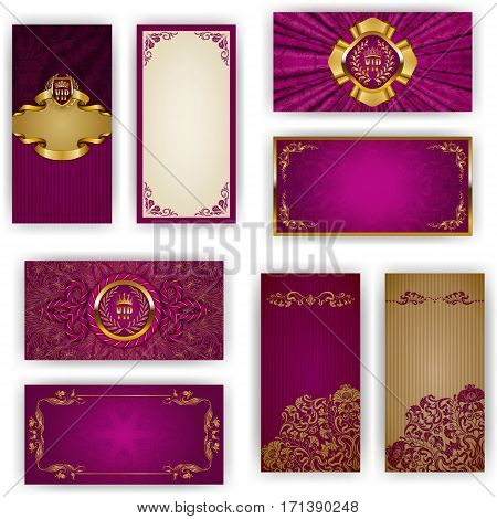 Set of elegant template for vip luxury invitation, greeting, gift card with lace ornament, crown, ribbon, drapery fabric, place for text. Floral elements, ornate background. Vector illustration EPS 10