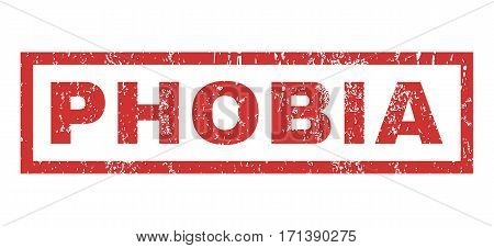 Phobia text rubber seal stamp watermark. Tag inside rectangular banner with grunge design and unclean texture. Horizontal vector red ink sign on a white background.