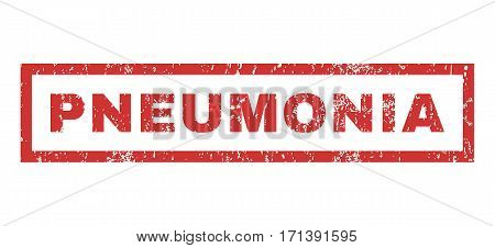 Pneumonia text rubber seal stamp watermark. Caption inside rectangular banner with grunge design and dust texture. Horizontal vector red ink emblem on a white background.