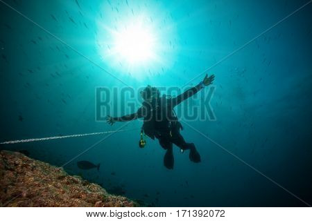 Silhouette of man scuba diver between water surface and sea bottom, hooked on reef