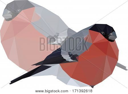 low-poly vector illustration Winter bird bullfinch triangulyar