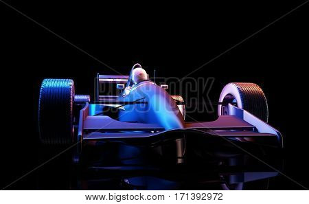Racing cars on a black background. ,3d render.