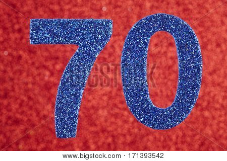 Number seventy blue color over a red background. Anniversary. Horizontal