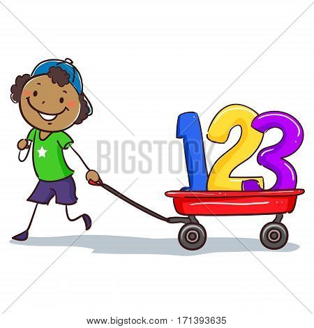 Vector Illustration of Stick Black Boy Pulling wagon with 123