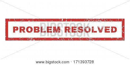 Problem Resolved text rubber seal stamp watermark. Caption inside rectangular shape with grunge design and dust texture. Horizontal vector red ink sign on a white background.