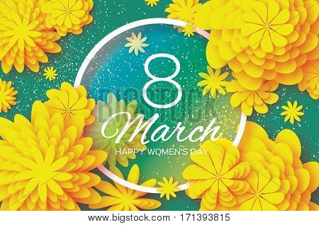 Yellow Paper Cut Flower. 8 March. Women's Day Greeting card. Origami Floral bouquet. Circle frame. Space for text on green background. Happy Mother's Day. Vector Spring illustration
