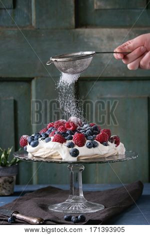 Pavlova Dessert With Fresh Berries