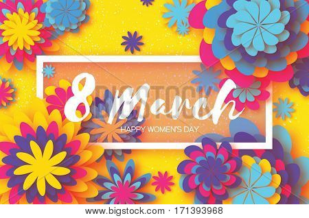 Yellow Colorful Paper Cut Flower. 8 March. Women's Day Greeting card. Origami Floral bouquet. Rectangle frame. Space for text on Yellow background. Happy Mother's Day. Vector Spring illustration
