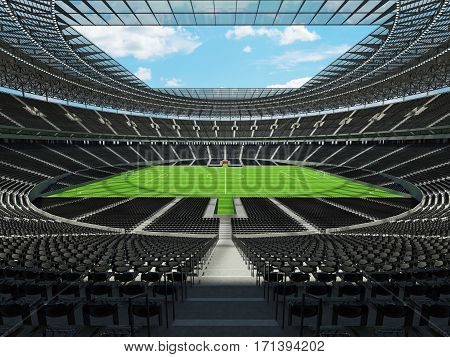 3D render of a round football - soccer stadium with black seats for hundred thousand people with VIP boxes
