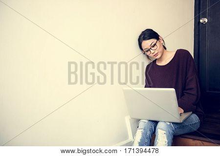 Woman Working Using Laptop Techie