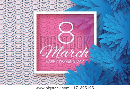 Blue Paper Cut flower. 8 March. Women's Day Greeting card. Origami Floral bouquet. Square frame. Space for text. Happy Mother's Day. Circle background. Vector Spring illustration