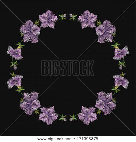 Embroidery Crewel Floral Petunia Decoration. Vector Illustration