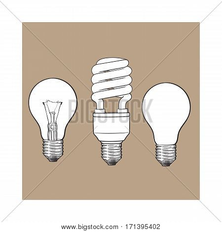 Set of transparent, opaque, glowing and energy saving spiral electric bulb, sketch style vector illustration isolated on brown background. hand drawing of round and spiral light bulbs