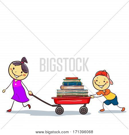 Vector Illustration of Stick Kids Pulling a Wagon Load of Book