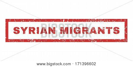 Syrian Migrants text rubber seal stamp watermark. Tag inside rectangular shape with grunge design and unclean texture. Horizontal vector red ink emblem on a white background.