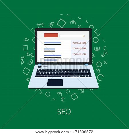 Flat Illustration Design , Seo Optimization.