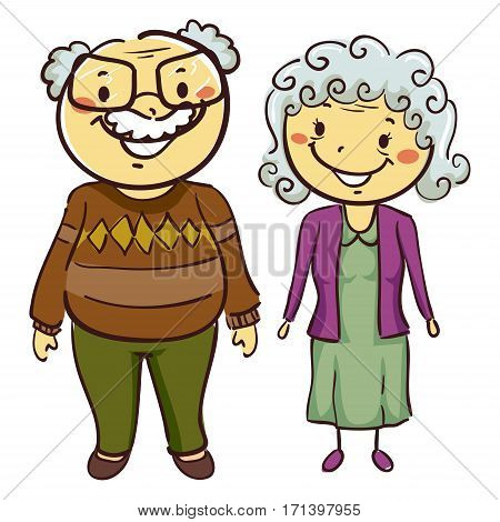 Vector Illustration of Couple Grandmother and Grandfather