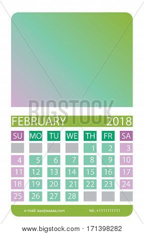 Calendar grid. February. This page wall calendar. In place of the gradient field can be foredeck your image. Eps 10